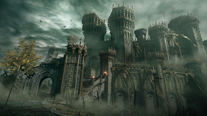 An ornate castle fallen into ruins in an Elden Ring screenshot.
