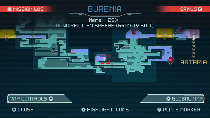 Map of Gravity Suit location in Metroid Dread.