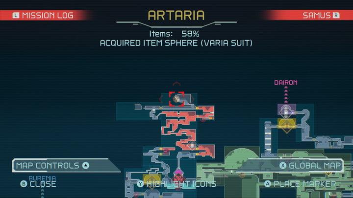 Map of Varia Suit in Metroid Dread.