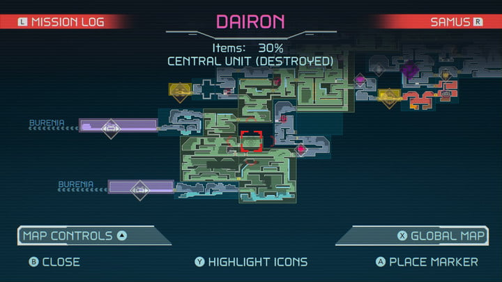 Map of Speed Boost in Metroid Dread.