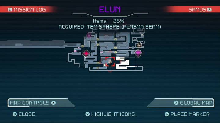 Map of Plasma Beam in Metroid Dread.