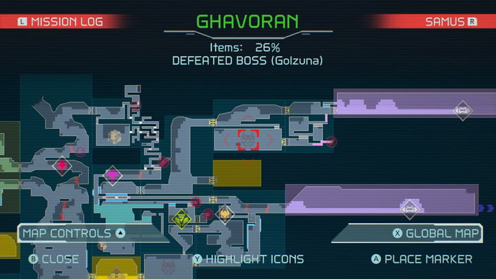 Map of Cross Bomb from Metroid Dread.