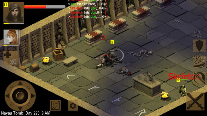 Exiled Kingdoms player fighting a skeleton.