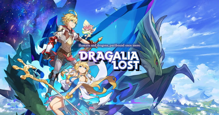 Dragalia Lost characters posing in front of mountains.
