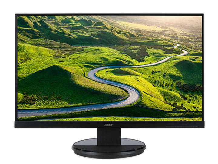 The 27-inch Acer K2 Series K272HL LCD monitor with a landscape on the screen.